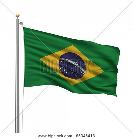 Flag of Brazil with flag pole waving in the wind over white background