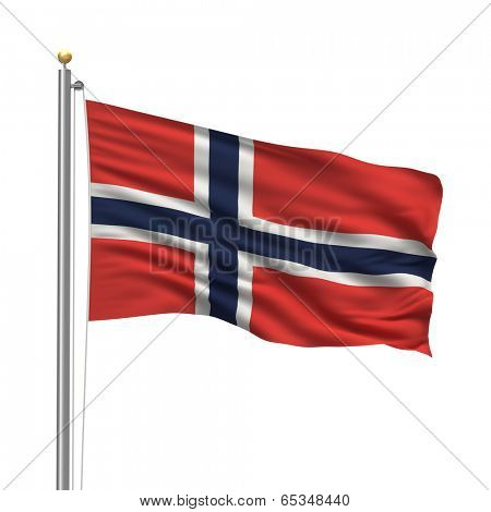 Flag of Norway with flag pole waving in the wind over white background