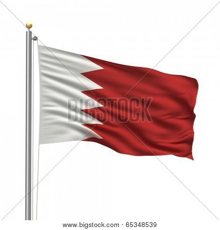 Flag of Bahrain with flag pole waving in the wind over white background