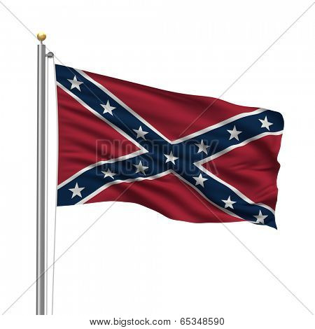 Confederate Flag with flag pole waving in the wind over white background