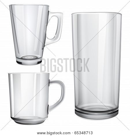 Two Glass Cups And One Glass For Juice