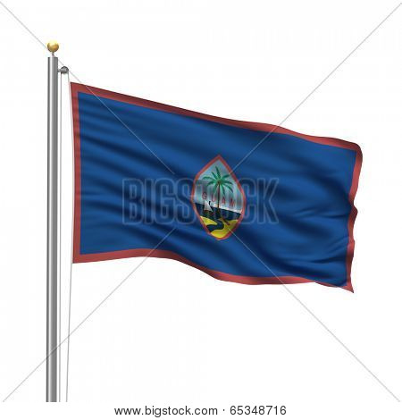 Flag of Guam with flag pole waving in the wind over white background