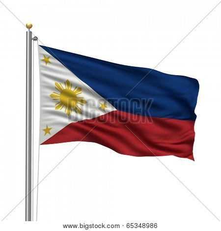 Flag of Philippines with flag pole waving in the wind over white background