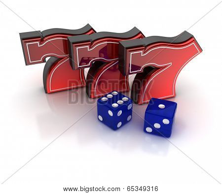 Lucky number seven and dice over white background