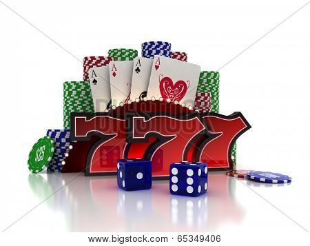 Lucky Sevens with cards and dice over casino background