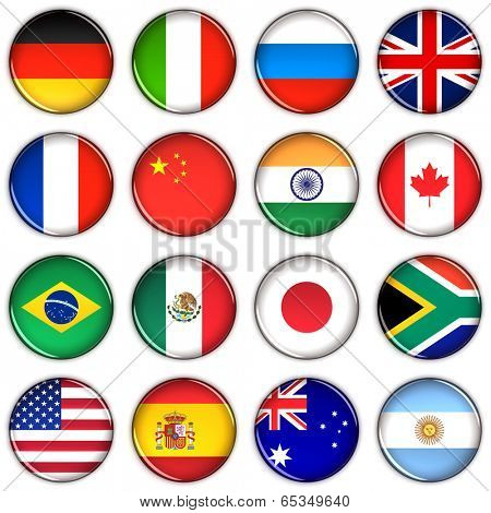 Various country buttons over white background