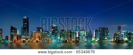 Miami skyline at night - panoramic image