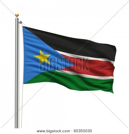 Flag of South Sudan with flag pole waving in the wind over white background