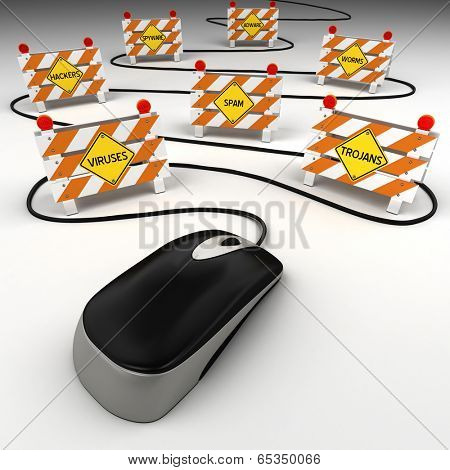 Computer mouse with internet security threats concept