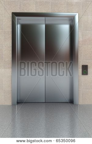 Hallway view of a modern closed elevator