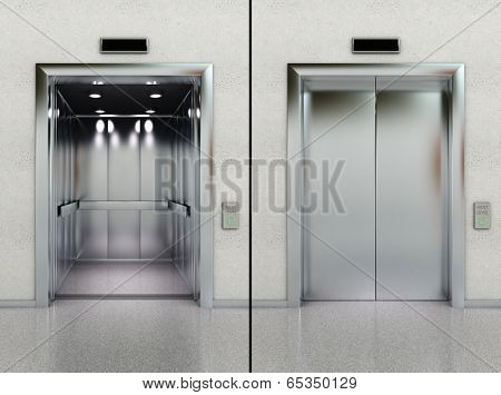 Two images of a modern elevator with opened and closed doors
