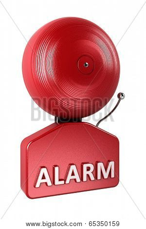 Red fire alarm bell isolated over white background