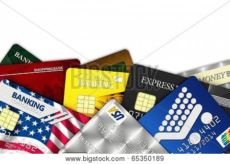 A bunch of fake credit cards over white with clipping path - all logos, names, number and designs are fake