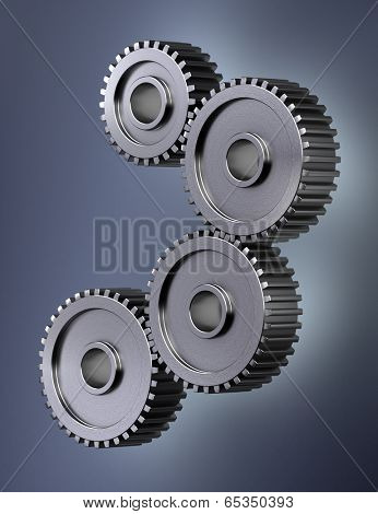 Four gear wheels symbolizing perfect teamwork