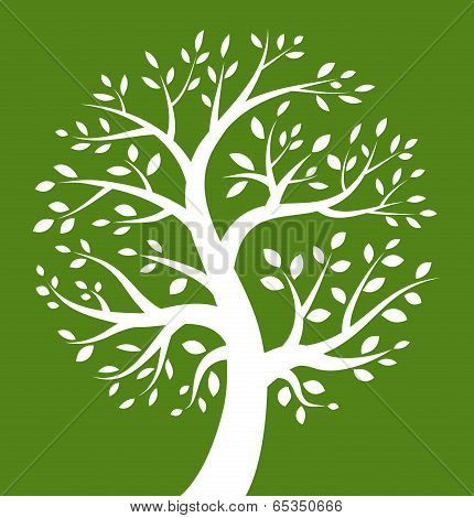 White Tree icon on green background