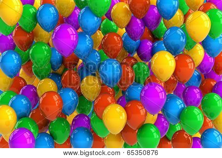 Colorful party balloon background with dozens of balloons