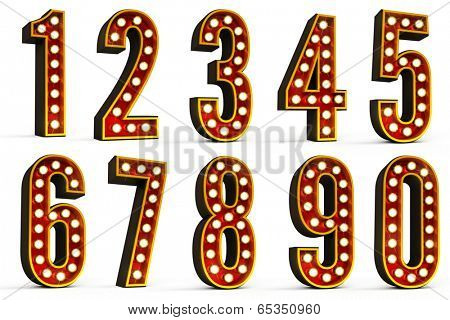 Set of all ten numbers over white background with clipping path for each number