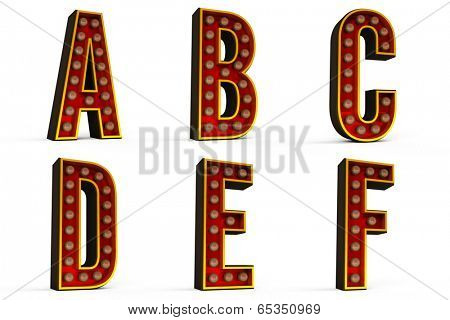 Alphabet Set - Part 1 with lights turned off including clipping paths for each letter