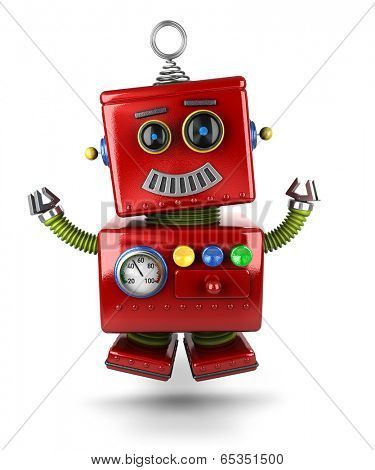 Little vintage toy robot jumping of joy over white background