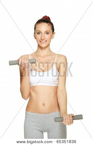 Fitness women working out with dumbbells
