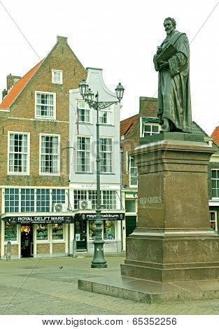 Statue In The Town Delft, Netherlands
