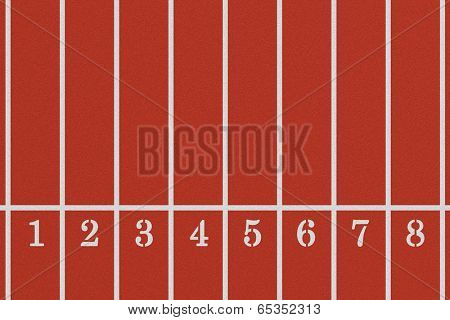 Running track from a bird's perspective showing eight lanes