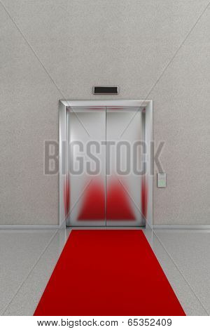 Business lobby showing closed elevator with red carpet