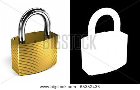 Close up on locked padlock over white background with alpha mask for perfect isolation