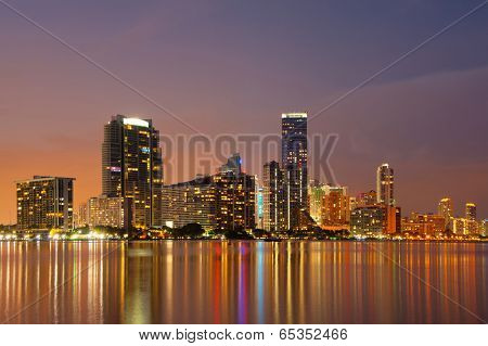 Miami Skyline at dusk showing apartment highrises in Brickell