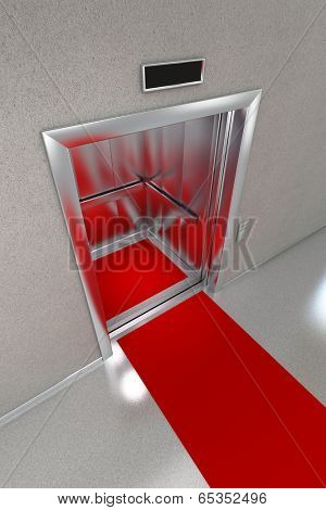 Open elevator with red carpet.