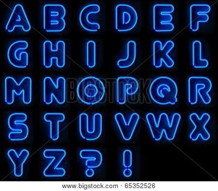 Blue neon signs with all letters of the alphabet