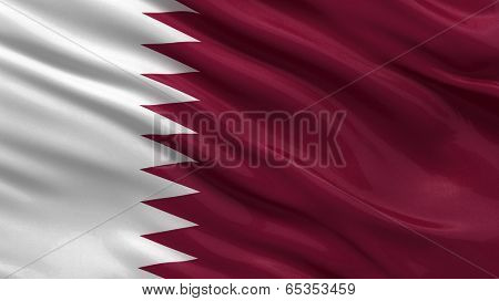 Flag of Qatar waving in the wind
