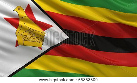 Flag of Zimbabwe waving ni the wind