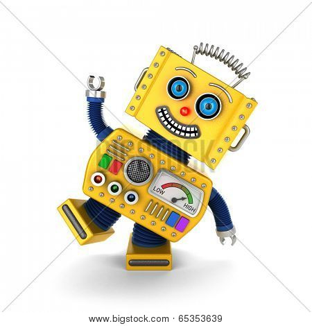 Cute yellow vintage toy robot over white background having fun