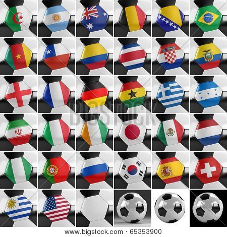Soccer balls with all national flags of the world championship