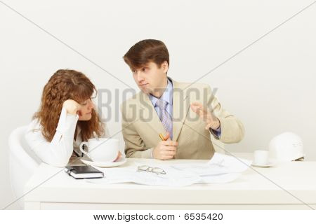 Businessman Explains To Missing Tired Girl Drinking Coffee
