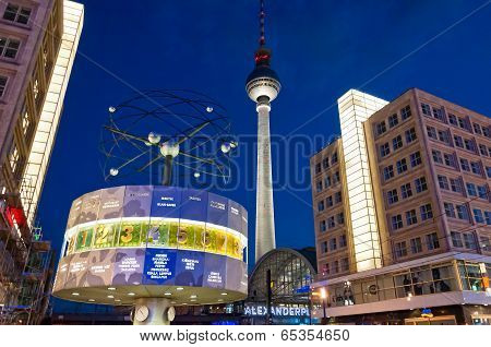 Tv tower and world clock night view in Berlin