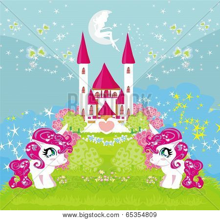 Card With A Cute Unicorns And Magical Castle