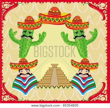 Vector Mexican Frame With Pyramid, Cactus And Sombrero