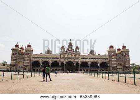 Mysore Palace also known as Amba Vilas Palace full length view on a sunny afternoon
