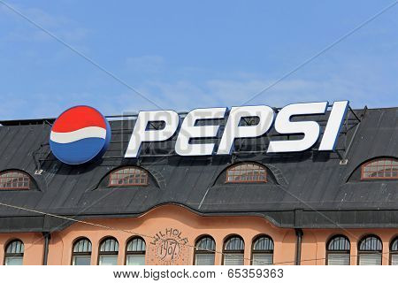 Sign Pepsi In Central Helsinki, Finland