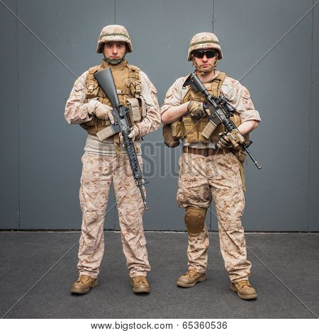 Soldiers With Rifle Posing At Militalia In Milan, Italy
