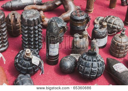 Hand Grenades,on Display At Militalia In Milan, Italy