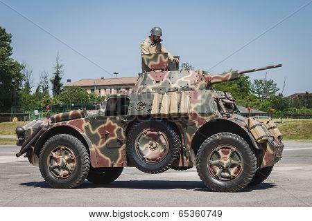 Italian Armored Car At Militalia In Milan, Italy