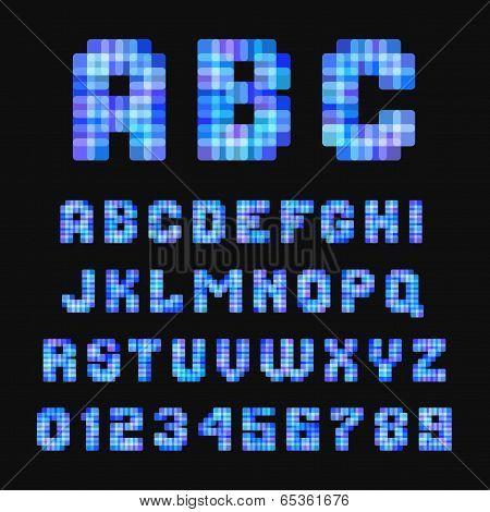 Modern neon pixel font on black background.