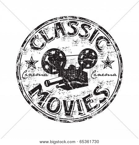 Classic movies grunge rubber stamp