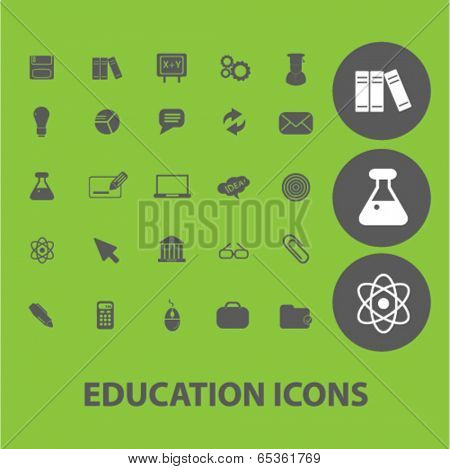education signs: science, university, training icons set, vector