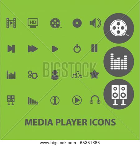 player signs: media and music icons set, vector