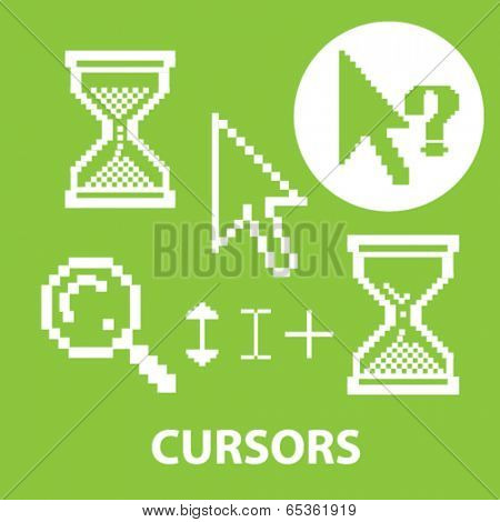 cursors signs: interface, mouse, search, question, pointer icons set, vector