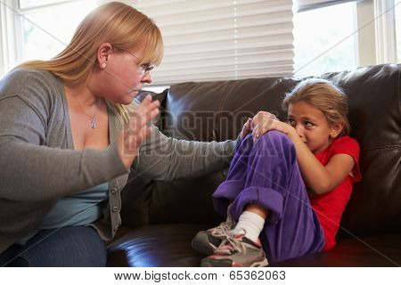 Mother Being Physically Abusive Towards Daughter At Home
